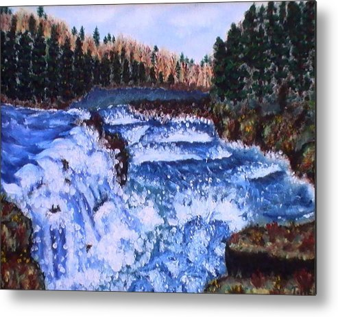 Pine Trees Metal Print featuring the painting River Falls by Tanna Lee M Wells