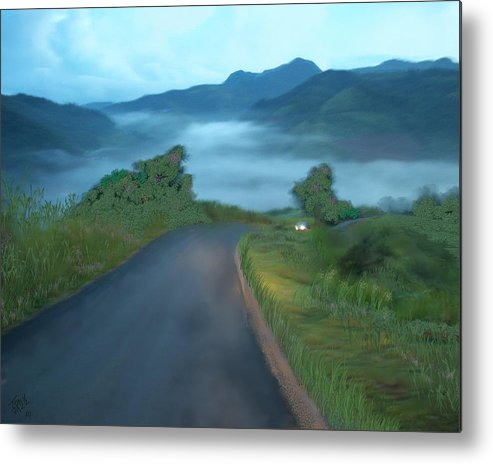 Landscape Metal Print featuring the digital art Road Less Traveled by Tony Rodriguez