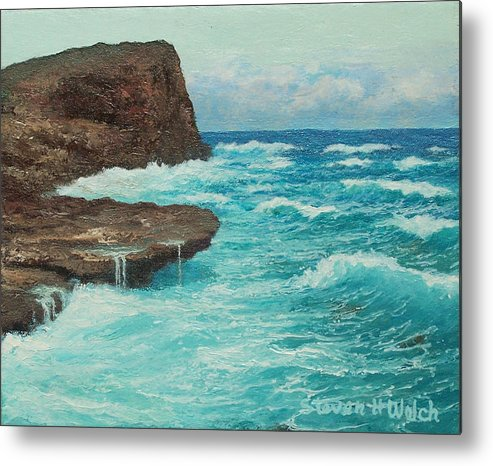 Hawaii Seascape Metal Print featuring the painting Rocky Point by Steven Welch