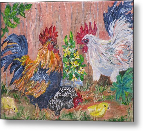 Rooster Metal Print featuring the painting Rooster Ranch by Mikki Alhart