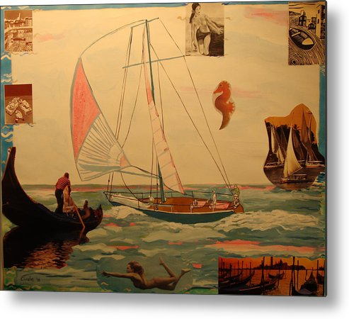 Metal Print featuring the painting Sailing and other boats by Biagio Civale