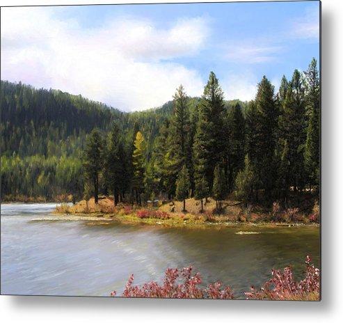 Salmon Lake Metal Print featuring the painting Salmon Lake Montana by Susan Kinney
