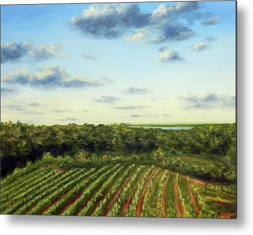 Vineyards Metal Print featuring the painting Saude Creek Sunset I by Anne Kushnick