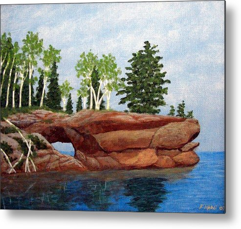 Landscape Paintings Metal Print featuring the painting Sea Cave by Frederic Kohli