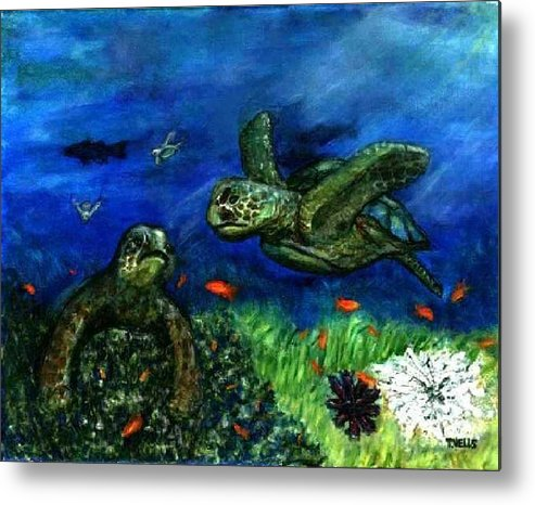 Sea Turtle Metal Print featuring the painting Sea Turtle Rendezvous by Tanna Lee M Wells