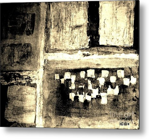 Painting Metal Print featuring the painting Sepia Squares by Marsha Heiken