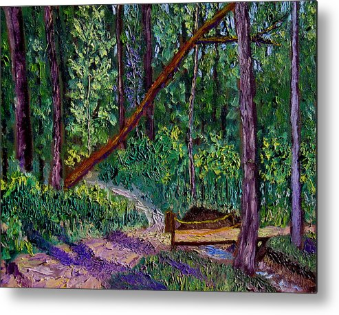 Landscape Metal Print featuring the painting SEWP Trail Bridge by Stan Hamilton