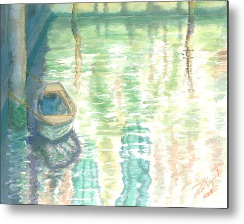 Boat Metal Print featuring the painting Shadows and Reflections by Dan Bozich