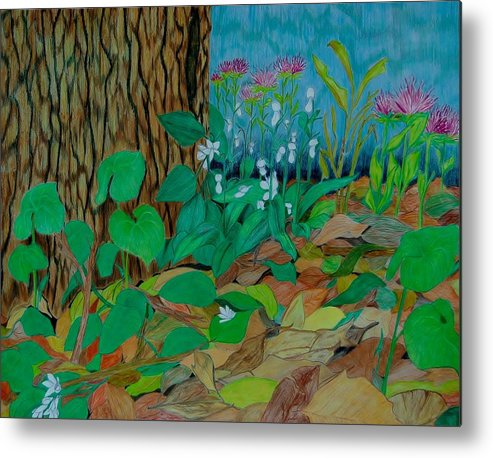 Tree Metal Print featuring the mixed media Six in hiding by Charla Van Vlack