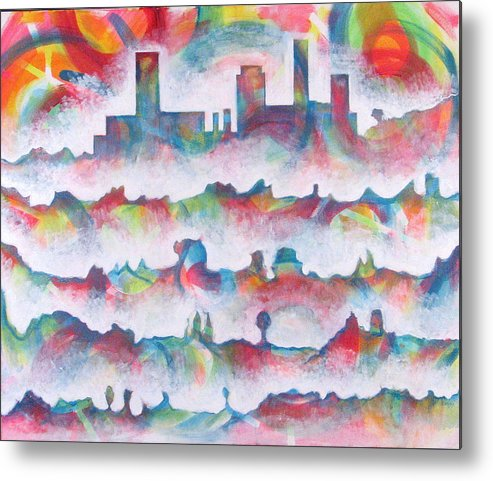 Cityscape Metal Print featuring the painting Skyline by Rollin Kocsis