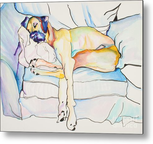 Great Dane Metal Print featuring the painting Sleeping Beauty by Pat Saunders-White