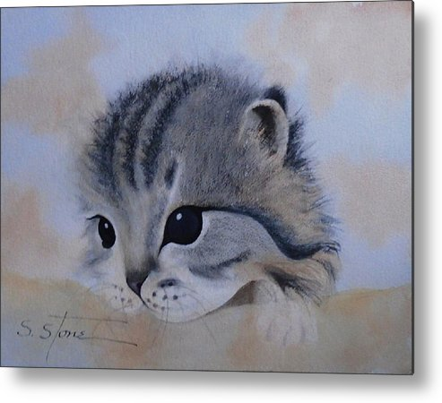 Animal Portrait Metal Print featuring the painting Sleepy Kitten by Sandra Stone