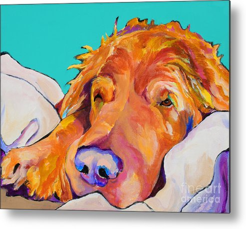 Dog Poortraits Metal Print featuring the painting Snoozer King by Pat Saunders-White