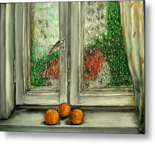 Rain Metal Print featuring the painting Sound Of Rain Oil Painting by Natalja Picugina