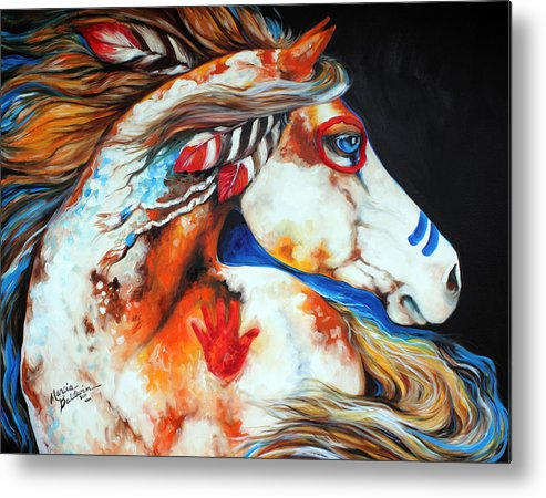 Indian Metal Print featuring the painting Spirit Indian War Horse by Marcia Baldwin