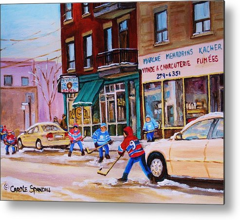 Montreal Metal Print featuring the painting St. Viateur Bagel with boys playing hockey by Carole Spandau