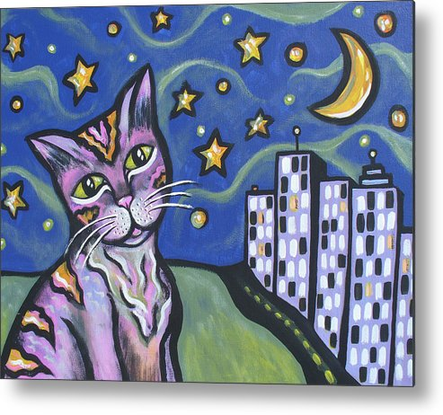 Feline Metal Print featuring the painting Starry Cat by Sarah Crumpler