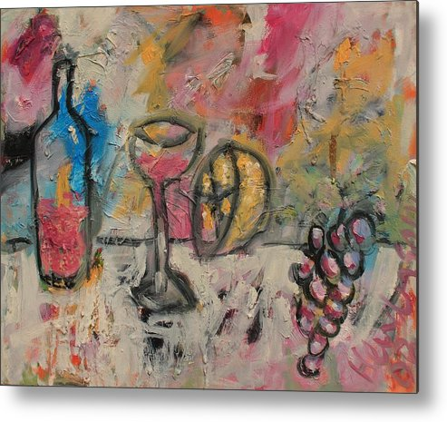 Stil Life Metal Print featuring the painting Still Life With Bottle by Michael Henderson