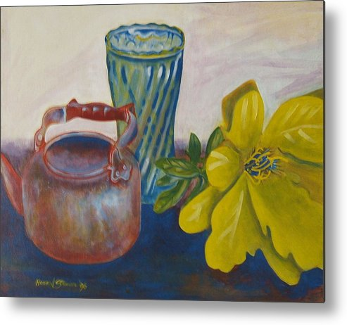 Still Life Arrangement Sold Metal Print featuring the painting Still Life With Plastic Flower by Howard Stroman