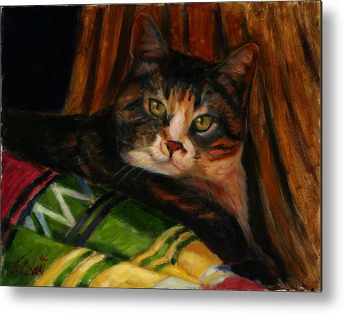 Calico Metal Print featuring the painting Stripes and Shadows by Billie Colson