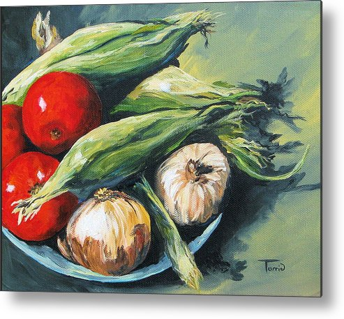 Onion Metal Print featuring the painting Summer Vegetables by Torrie Smiley