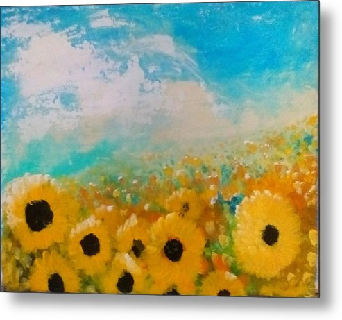 Flowers Metal Print featuring the painting Sun flower by J Bauer