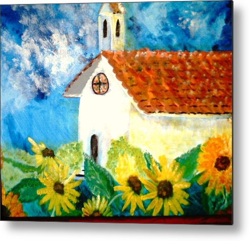 Church Metal Print featuring the painting Sun Flowers Dance at San Marin by J Bauer