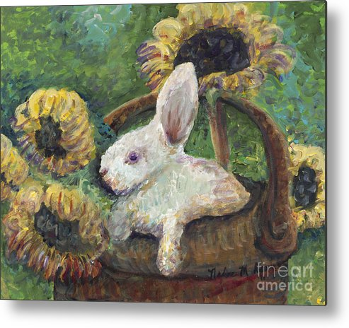 Sunflowers Metal Print featuring the painting Sunflower Basket Surprise by Nadine Rippelmeyer