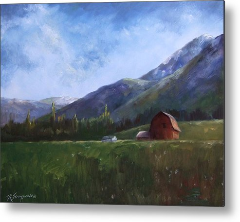 Barn Metal Print featuring the painting Sunlit Barn by Ruth Stromswold