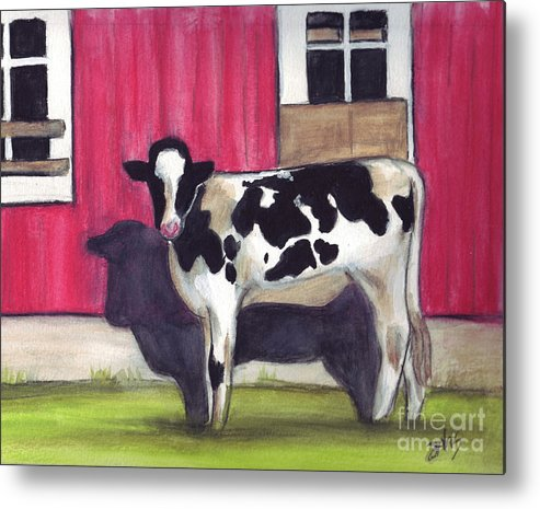 Cow Metal Print featuring the painting Sunny side of the barn by Debra Sandstrom