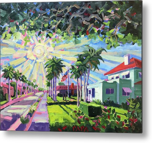 Deerfield Beach Metal Print featuring the painting Sunny Sunday Morning by Ralph Papa