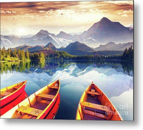 Alp Metal Print featuring the photograph Sunrise over Australian Lake by Thomas Jones