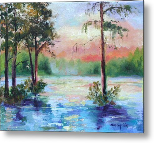 Sunset Metal Print featuring the painting Sunset Bayou by Ginger Concepcion