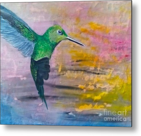 Hummingbird Metal Print featuring the painting Sunset Dancer by J Bauer