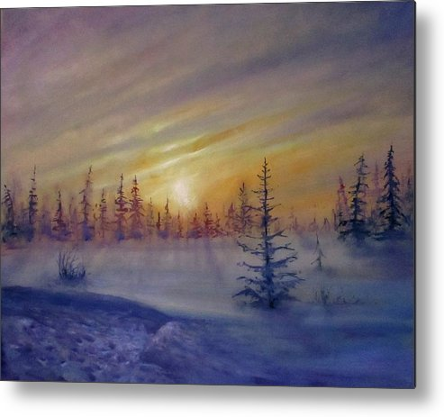 Winter Metal Print featuring the painting Sunset by Natalja Picugina