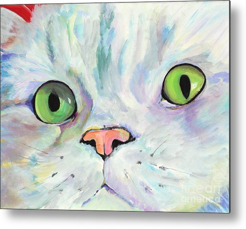 Kitten Metal Print featuring the painting Sweet Puss by Pat Saunders-White