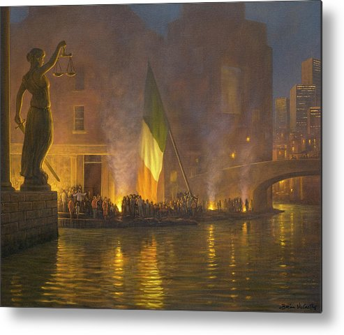 Sword Metal Print featuring the painting Sword of Justice in Ireland by Brian McCarthy