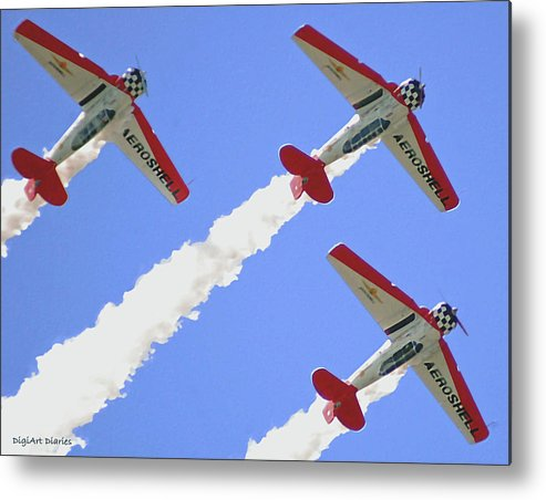 T6 Metal Print featuring the digital art T6 Aerobatics by DigiArt Diaries by Vicky B Fuller