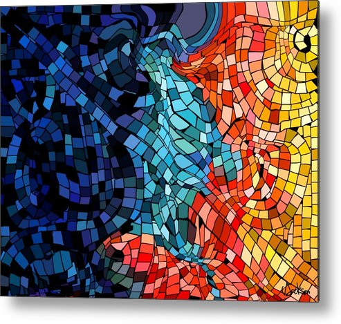 Kiss Colors Digital Abstract Metal Print featuring the digital art The abstract Kiss by Veronica Jackson