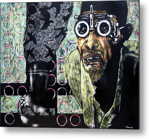 Scratchboard Metal Print featuring the mixed media The Alchemist by Chester Elmore
