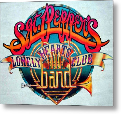 The Beatles Metal Print featuring the painting The Beatles Sgt. Pepper's Lonely Hearts Club Band Logo Painting 1967 Color by Tony Rubino
