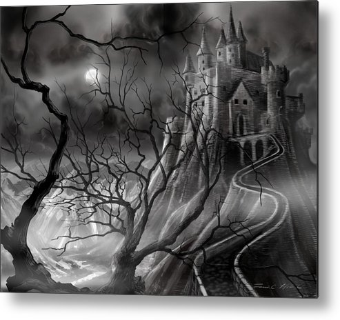 Castle Metal Print featuring the painting The Dark Castle by James Christopher Hill