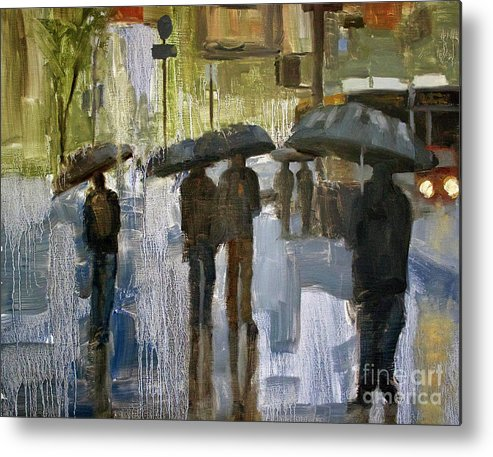Cityscape Metal Print featuring the painting The rain came by Tate Hamilton