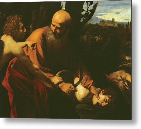 Caravaggio Metal Print featuring the painting The Sacrifice Of Isaac by Caravaggio
