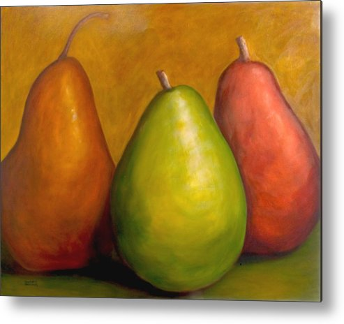 Brown Metal Print featuring the painting The Three Amigos by Shannon Grissom