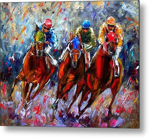 Horses Metal Print featuring the painting The Turn 2 by Debra Hurd