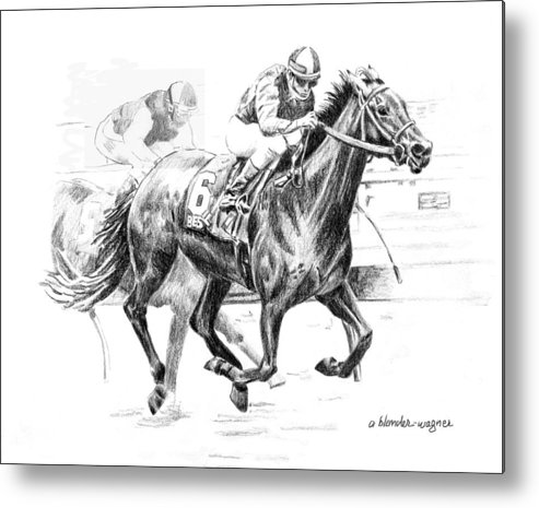 Thoroughbred Metal Print featuring the drawing Thoroughbred Best Pal by Arline Wagner