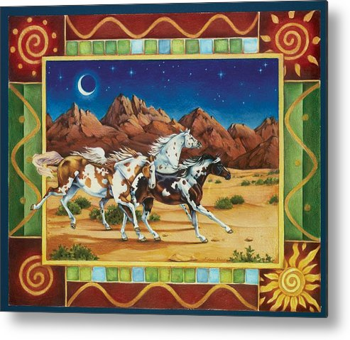 Horses Metal Print featuring the painting Three to Midnight by Eden Alvernaz