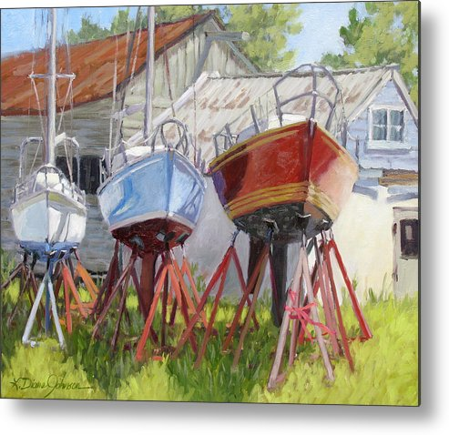 Sail Boats Metal Print featuring the painting Three Up by L Diane Johnson