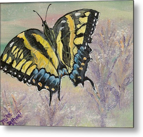 Butterfly Metal Print featuring the painting Tiger Swallowtail by Mikki Alhart
